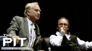 "Richard Dawkins (left) speaks in San Diego to promote his film, ""The Unbelievers.' Photo/Ken Rojas"