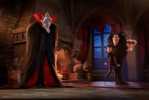 The ancient, undead and incredibly grumpy vampire Vlad (voiced by Mel Brooks) pays an impromptu visit to his son Dracula (Adam Sandler), granddaughter Mavis (Selena Gomez) and her boyfriend Johnny (Andy Samberg) in Sony Pictures Animation's HOTEL TRANSYLVANIA 2, in theaters September 2015. (PRNewsFoto/Sony Pictures Animation)