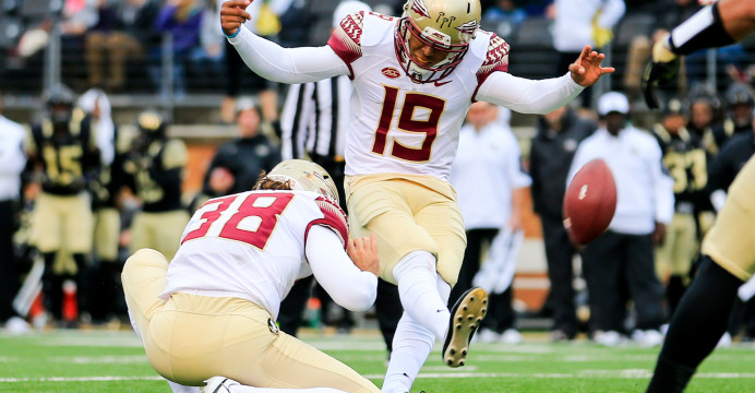 Former Florida State kicker Roberto Aguayo (19) was selected by the Tampa Bay Buccaneers in the third round with the 59th pick. Photo/Florida State Seminoles